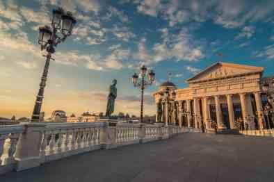 Neo-classical architecture in Skopje, Macedonia.