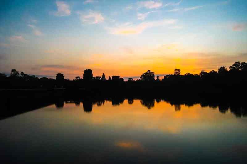 The famous sunrise at Angkor Wat.