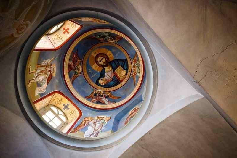 Inside a holy church.