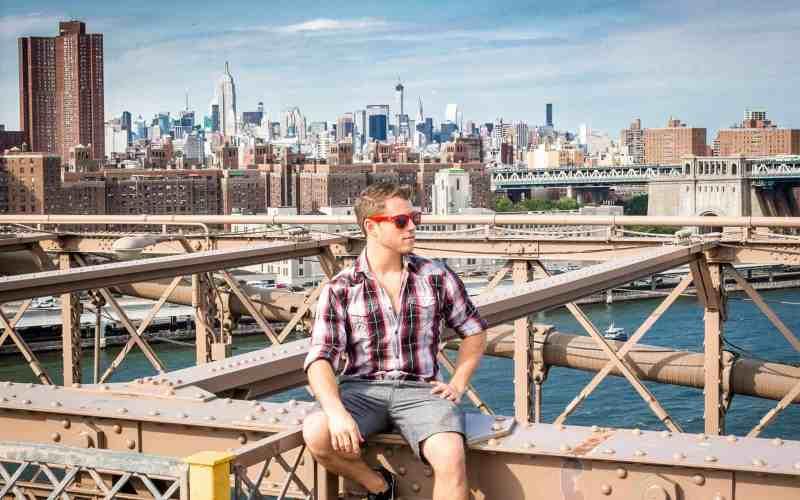 On the Brooklyn Bridge.