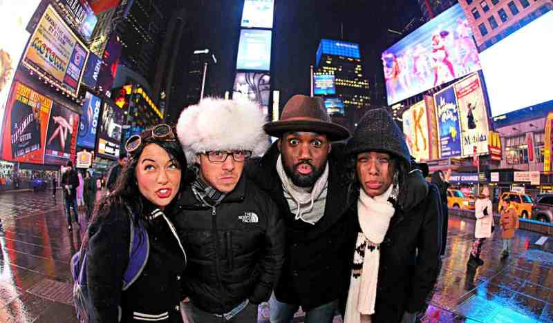 Freezing cold in Times Square with The Legendary Adventures of Anna and friends.