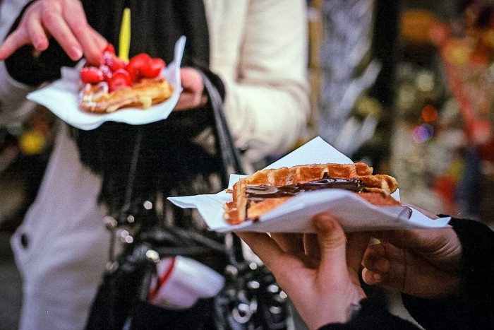 Eating the best Belgian waffles in Brussels.