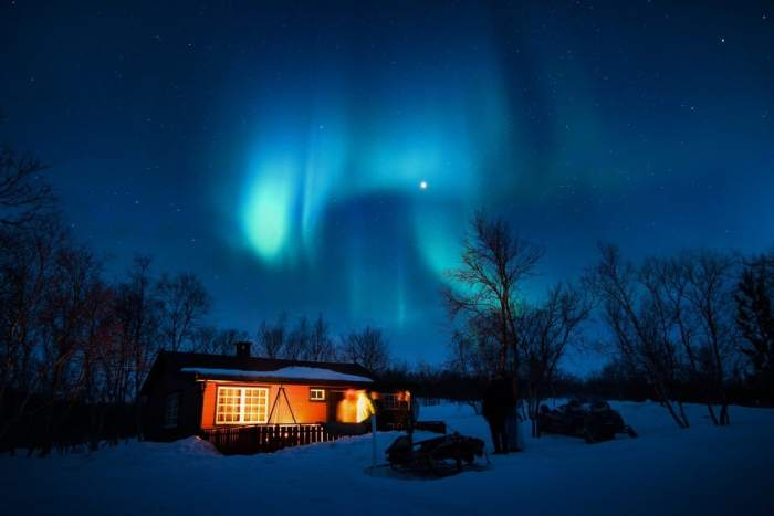 The Northern Lights dance in the evening