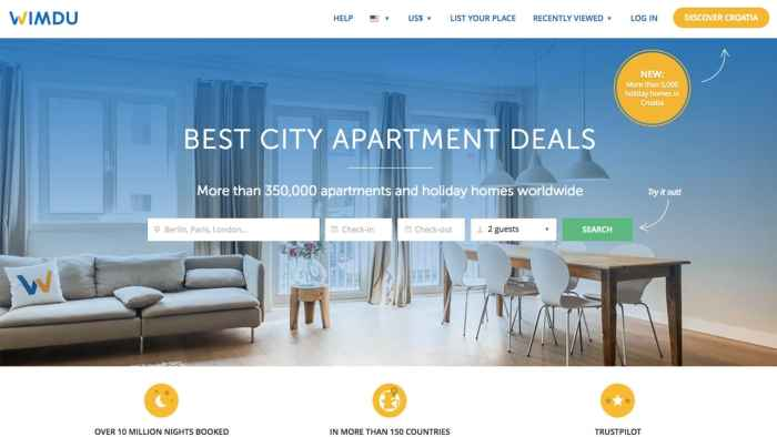 Wimdu is an Airbnb competitor with vacation rentals all over the world