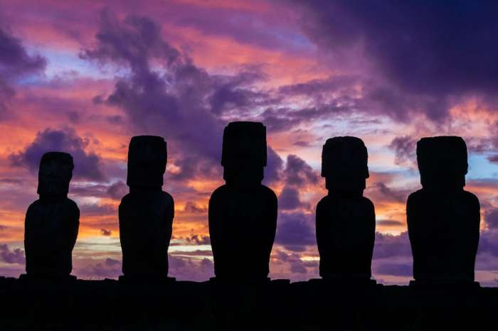 Sunrise at Ahu Tongariki on Easter Island, Chile