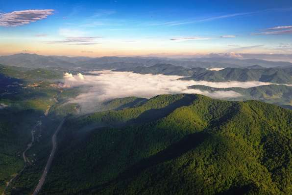 Aerial shot of the Great Smoky Mountains at sunrise