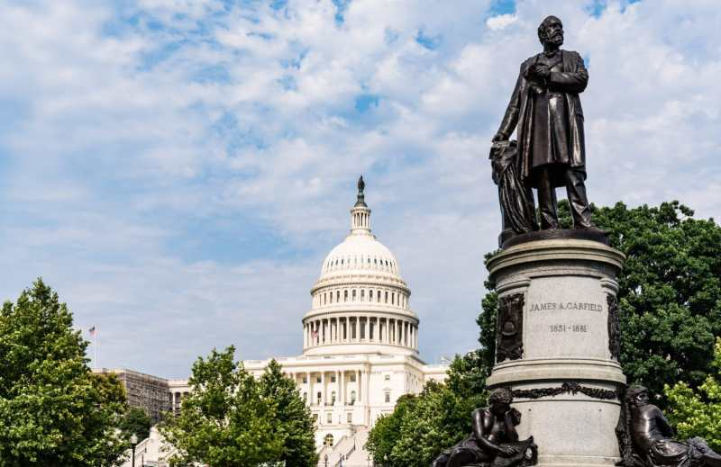 The James A. Garfield Monument on a driving tour of Washington, D.C.'s monuments