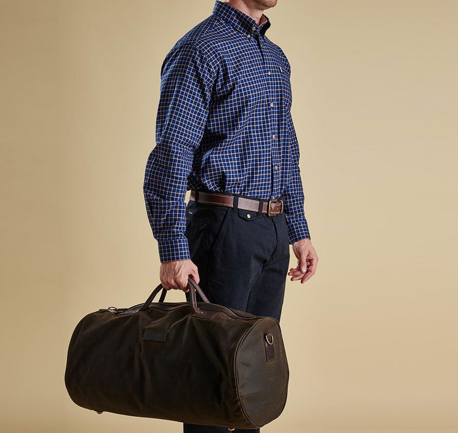 Carry-on luggage I love: Barbour Wax Cotton Holdall