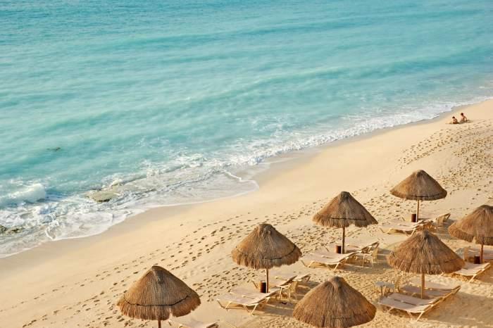 Cayman Islands with beach umbrellas