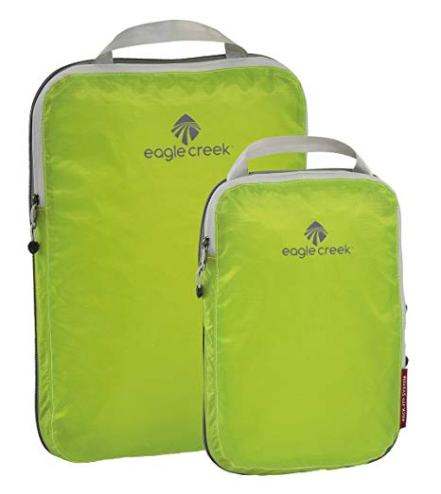 lime green Eagle Creek Compression Packing Cubes