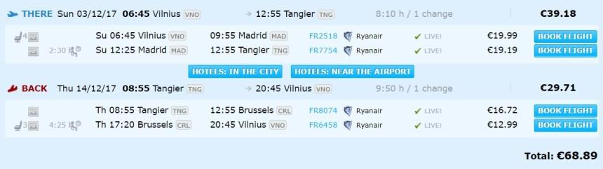 flights vilnius morocco