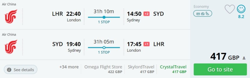 london to syndey