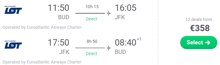 Non Stop flights from Budapest to New York
