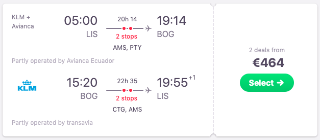 Flights from Lisbon, Portugal to Bogota, Colombia