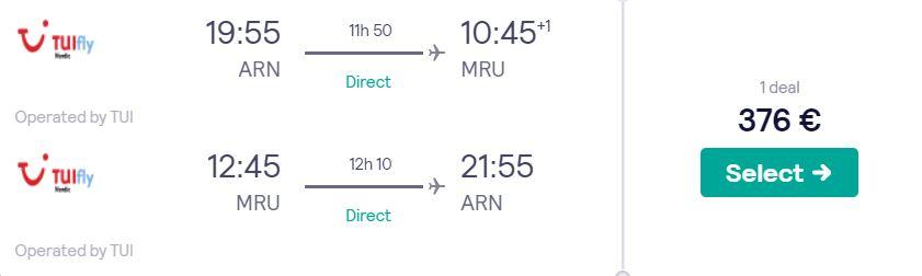 cheap flights stockholm mauritius