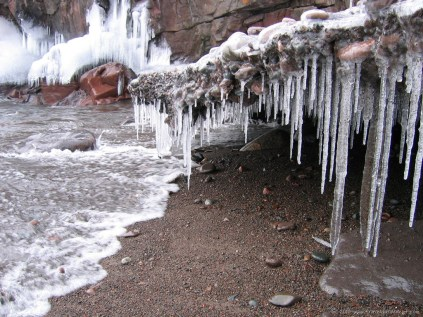 Details of an icy shore