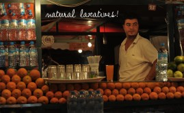Djemaa el Fna famous for the row and rows of fresh orange juice carts at its entrance
