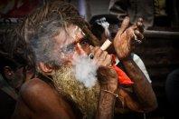 a Sadhu enjoying his hashish
