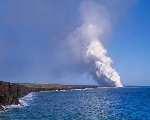 Volcanic Lava Entering the Ocean on the East Shore