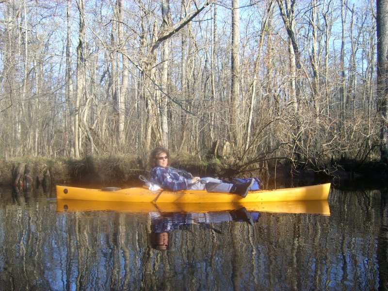 Mindie Burgoyne kayaking on Dividing Creek