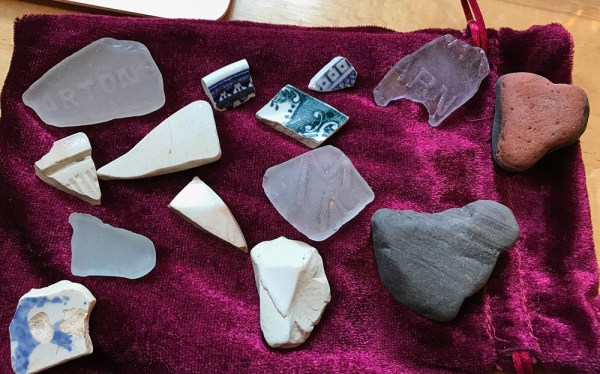 seaglass and shards found on Lindisfarne beach