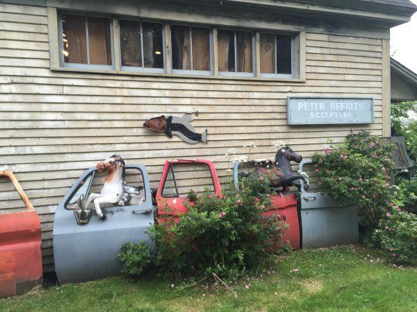 Peter Beerits sculpture at Nervous Nellie's Deer Isle Maine