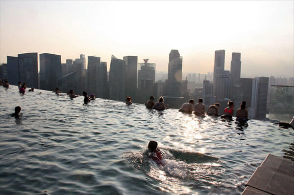 infinity pool singapore edge. Infinity Pool Is A That Does Not Block Visibility Like Railing On The Edge Of Pool. It Seems To Be Connected Scenery Spreading In Front Singapore Y