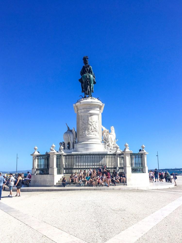 Lisbon landmarks, statue of King José I, Commerce Square