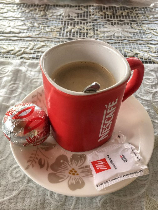 Our welcome coffee and treat from Ljubica herself
