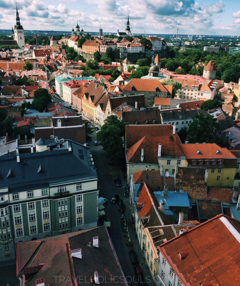vista di Tallinn dalla torre di Sant'Olaf estonia