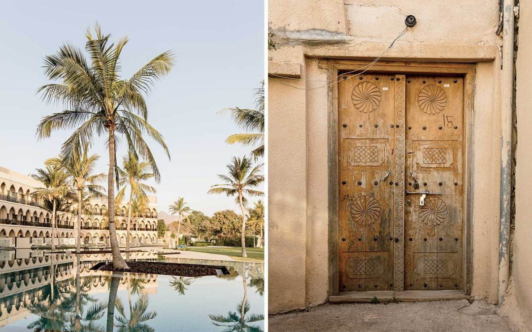 Pool at Al Bustan Palace Oman and the entrance to a home in a village near Jabal Akhdar