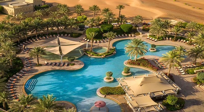 Aerial view of pool at Qasr al Sarab by Anantara, UAE