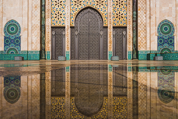Hassan II Mosque reflecting pool in Casablanca, Morocco