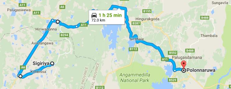 Sigiriya to Polonnaruwa map