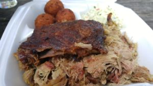 Pulled Pork, Ribs, Hushpuppies, and Slaw - perfect lunch!