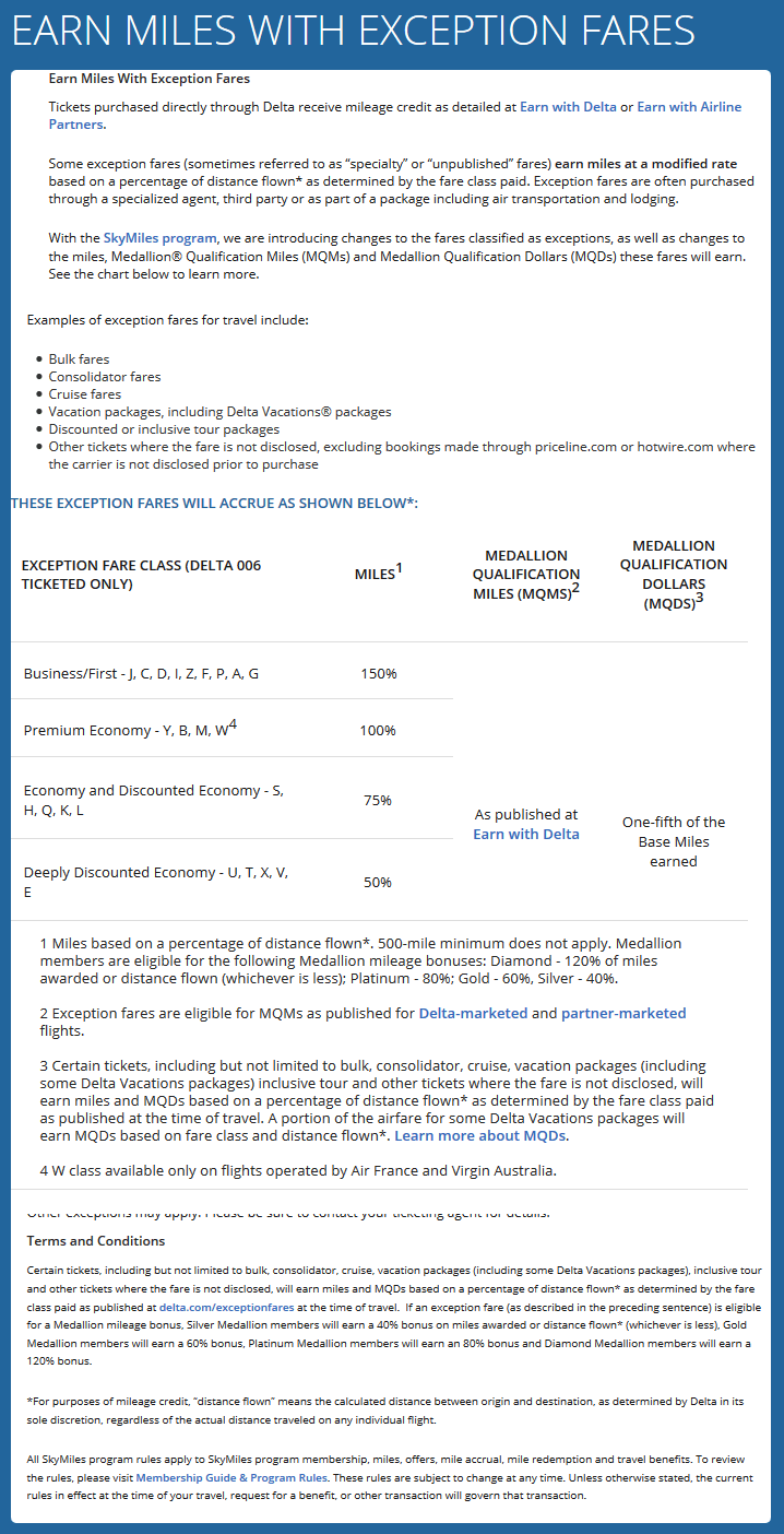 Delta Airlines Exception Fares