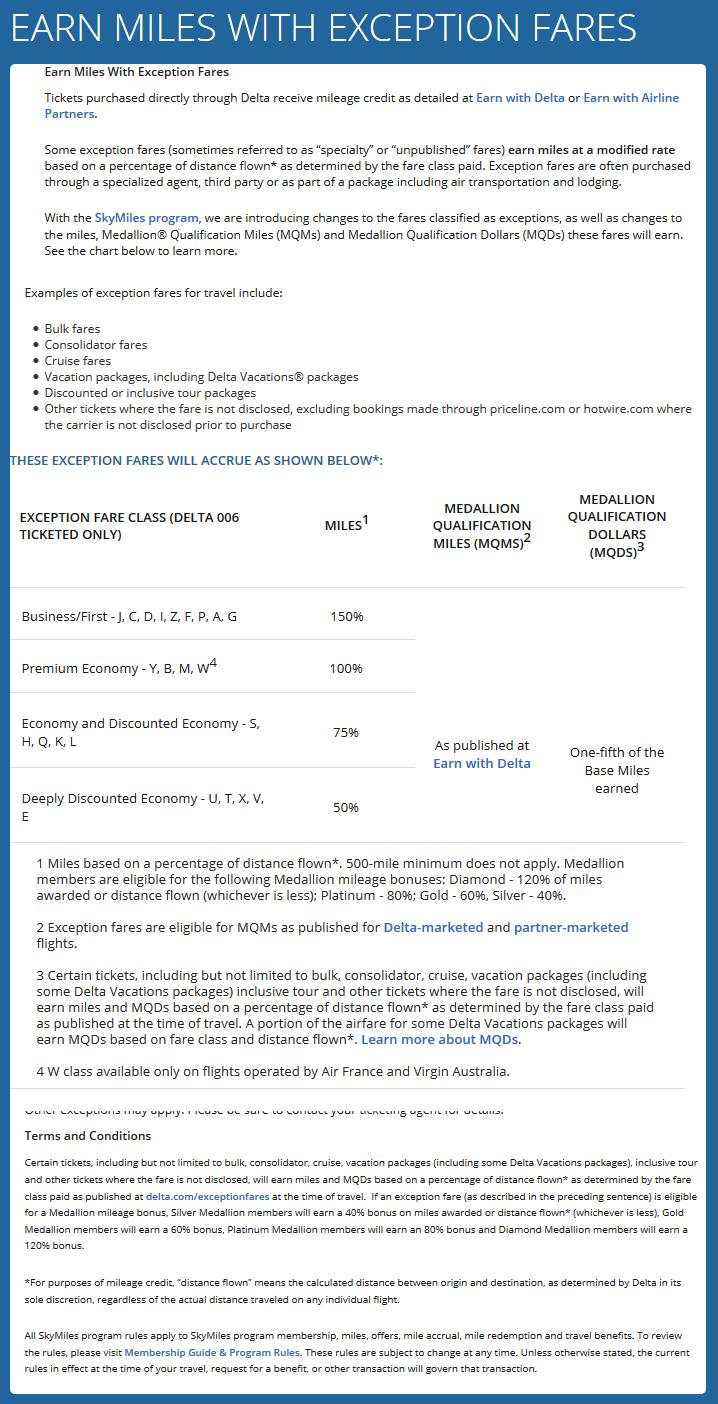Delta Airlines Exception Fares