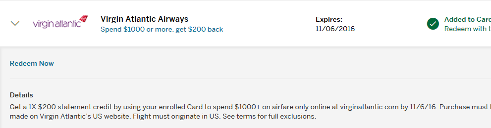 HotelStorm and Virgin Atlantic @AmericanExpress Offers
