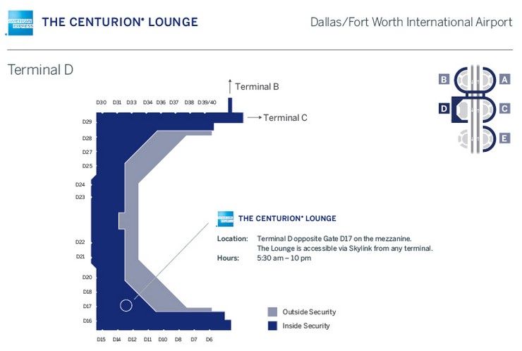 From AmEx's Centurion Lounge Page