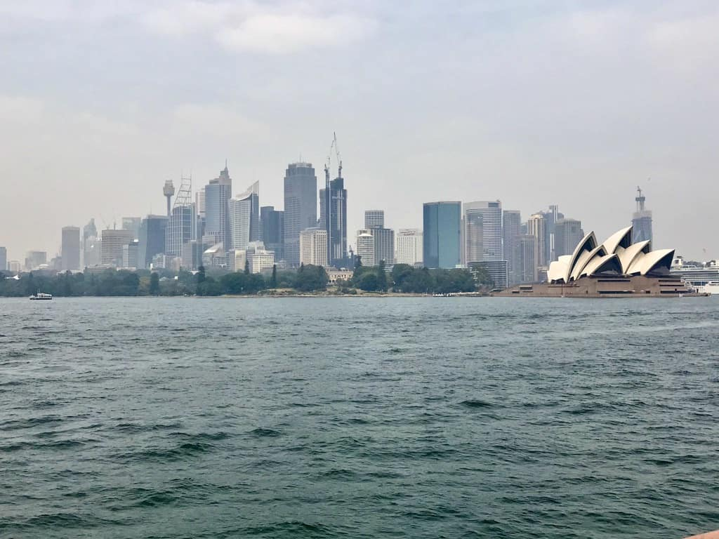 View from ferry of Opera House and Sydney skyline