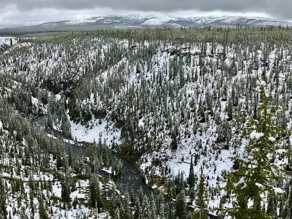 Yellowstone National Park with snow