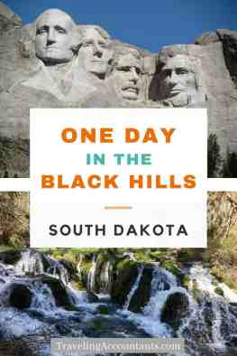 One Day in the Black Hills pin cover with Mount Rushmore and Spearfish Falls