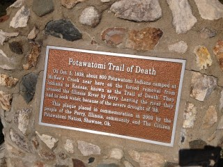 A marking reminding us of what went before - the Potawatomi Trail of Death - a march from Indiana to Kansas