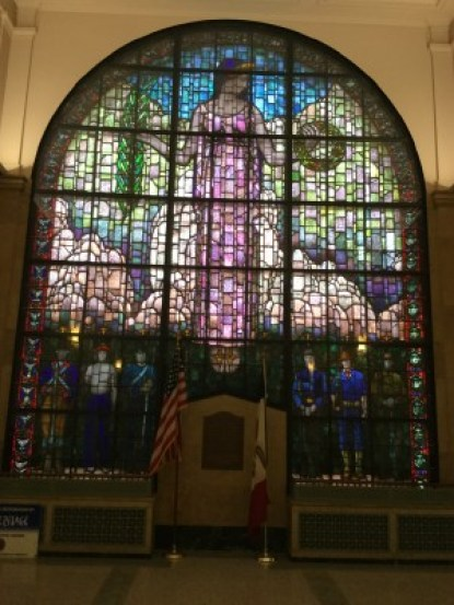 Grant Wood created this memorial window that was finished in 1927.