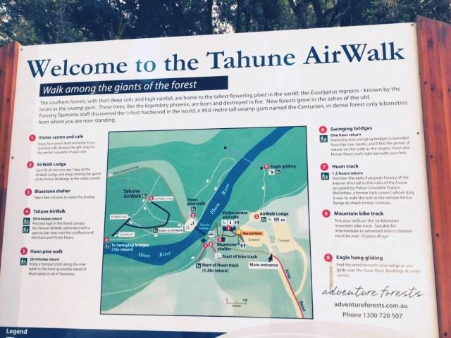 タスマニアのタフネエアウォーク地図