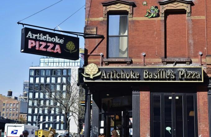 This was taken outside Artichoke Pizza in Manhattan, NY.