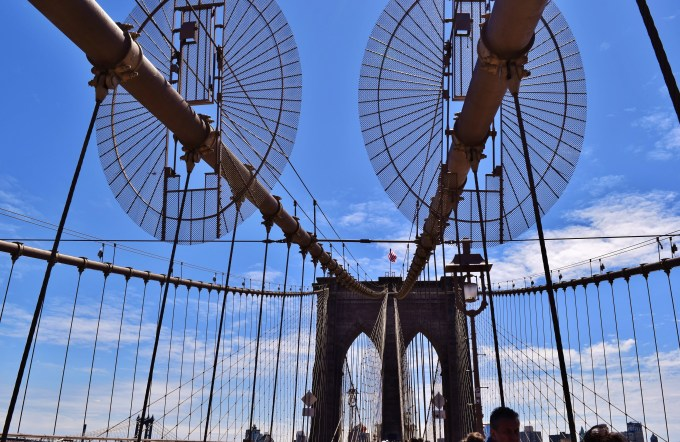 A shot of the Brooklyn Bridge from the Manhattan side.