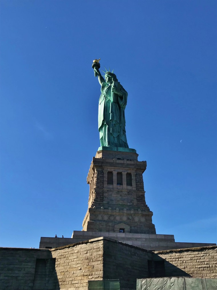 Shot of The Statue of Liberty from Liberty Island.