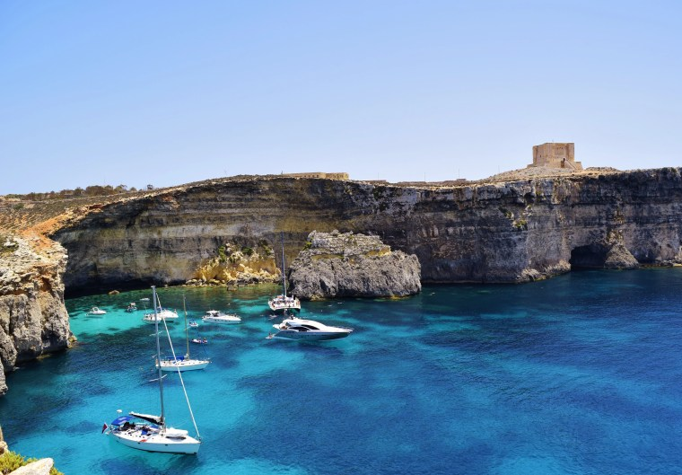 Island of Comino right off the coast of Malta.
