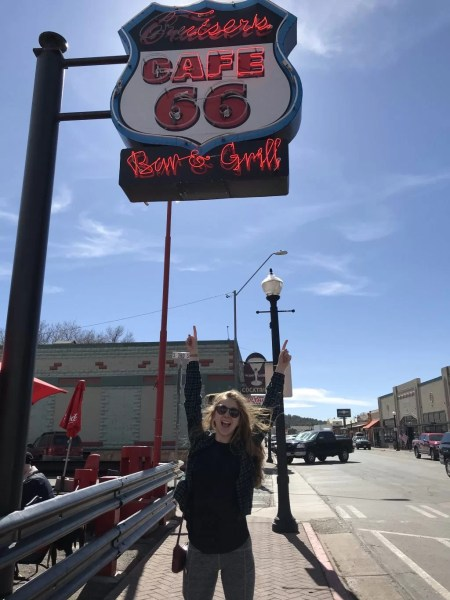 Erin on Historic Route 66.